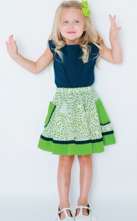GREEN CONTRAST CIRCLE SKIRT