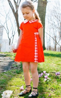 GINGHAM INSET DRESS