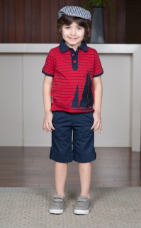STRIPED POLO WITH SAILBOAT